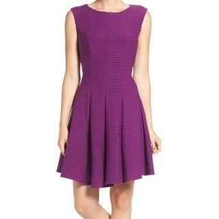 Gabby Skye NEW Purple Women's Size 8 A-Line Ponted Textured Dress