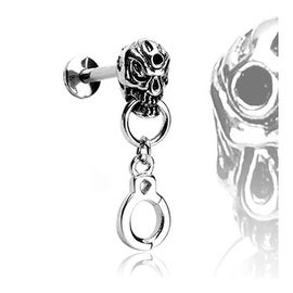 """Surgical Steel Labret with Skull and Handcuffs - 14GA 3/8"""" Long (Sold Ind.)"""