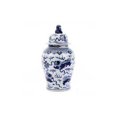 Handmade Foo Dog Temple Decorative Jar