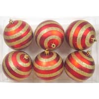 Red Ball Ornament with Lines Design, Pack of 6
