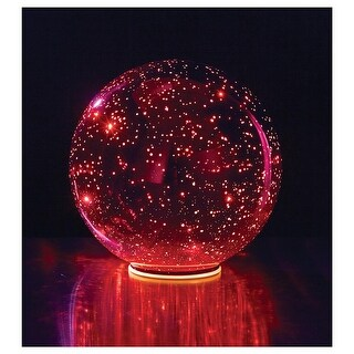 Lighted Mercury Glass Ball Sphere - Red - Large