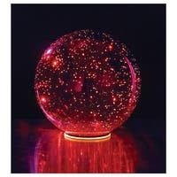 Lighted Mercury Glass Ball Sphere - Red