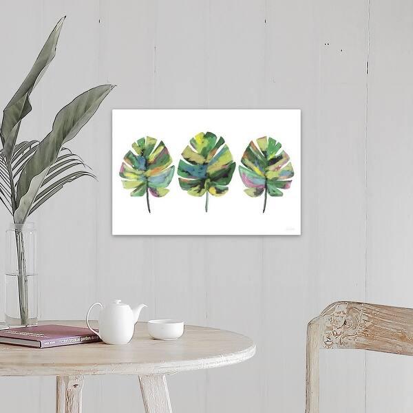 Three Tropical Leaves Canvas Wall Art Overstock 21002910 Tropical leaves wall art | temple & webster. usd