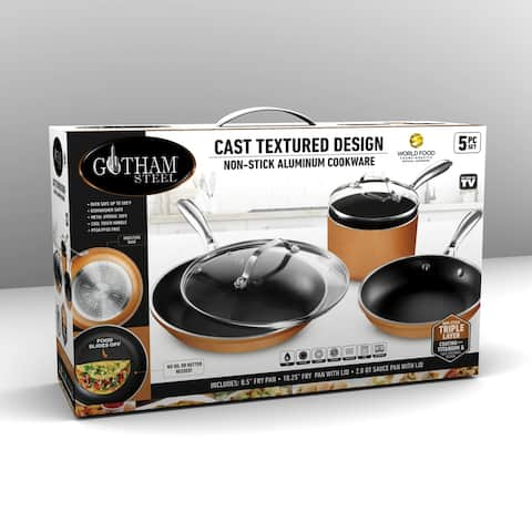 Gotham Steel Non Stick Cast Textured 5pc Cookware Set