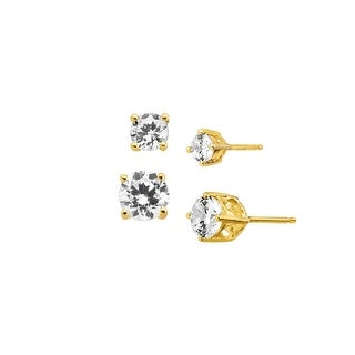 Set of Two Cubic Zirconia Stud Earrings in 18K Gold-Plated Sterling Silver