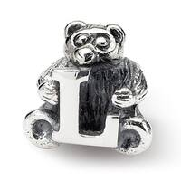 Sterling Silver Reflections Kids Letter L Bead (3.5mm Diameter Hole)