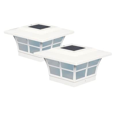 Classy Caps 5x5 White PVC Prestige Solar Post Cap (Set of 2)