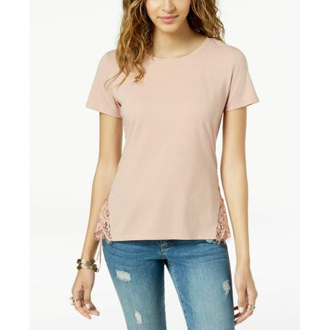 American Rag Juniors Lace-Up T-Shirt Fresco Pink Size Large