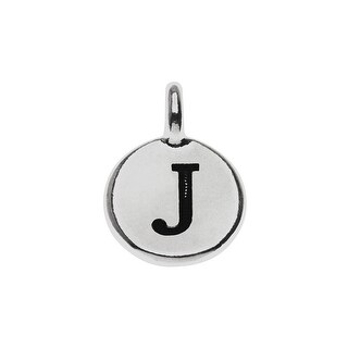 TierraCast Alphabet Charm, Uppercase Letter 'J' 16.5x11.5mm, 1 Piece, Antiqued Silver Plated