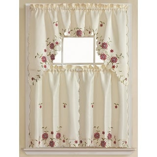 Rosa 3-Piece Embroidered Kitchen Curtain Set, Beige, Tiers 30x36, Swag 60x36 Inches