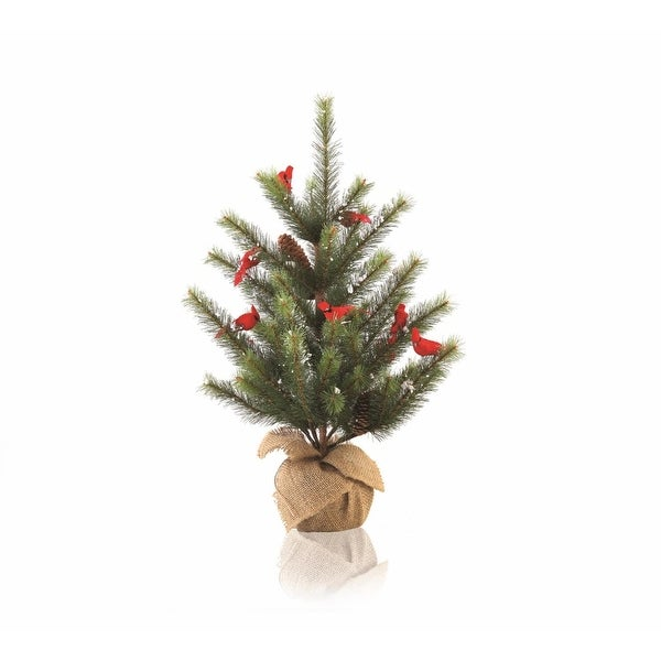 2' Country Cabin Glittered Cardinal Snow Pine Artificial Christmas Tree with Burlap Base - Unlit - RED