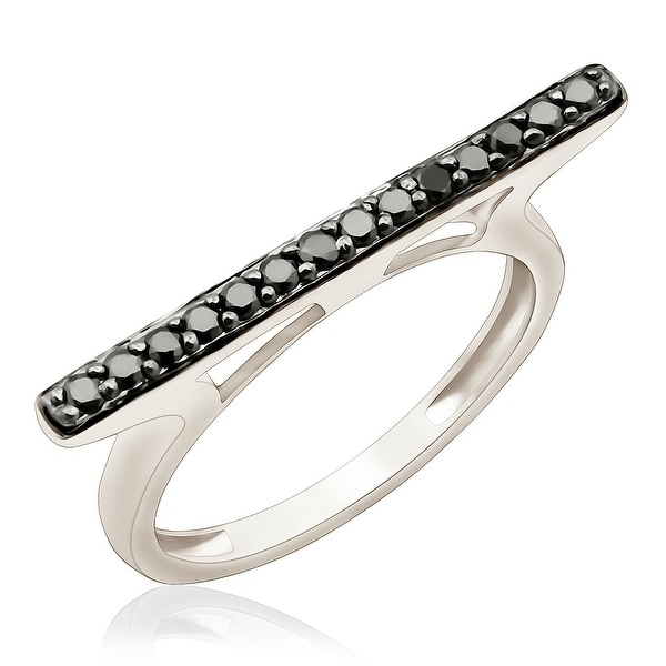 Fabulous 0.25 Carat Round Brilliant Cut Black Diamond Stylist Ring