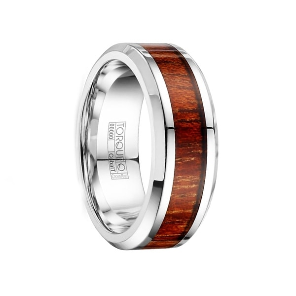 BALTHIER Men's Cobalt Wood Inlay Wedding Band Polished Beveled Edges by Crown Ring - 8mm