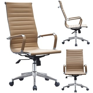 2xhome Tan Executive Ergonomic High Back Eames Office Chair Ribbed PU Leather Adjustable for Manager Conference Computer Desk