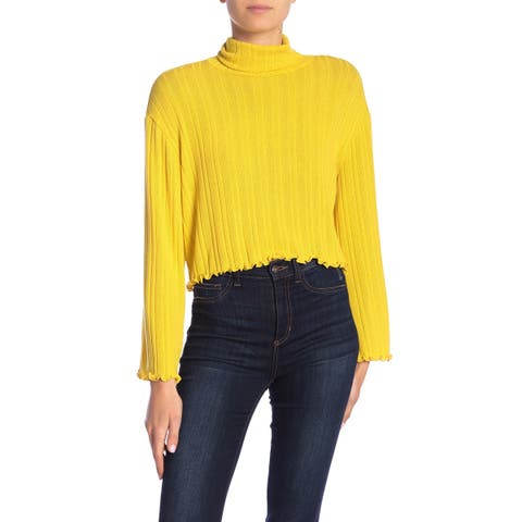 Abound Yellow Womens Size Large L Ribbed Lettuce Edgw Turtleneck Blouse 567