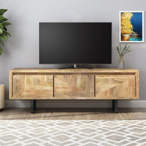 Girard Boho Handcrafted Mango Wood TV Stand by Christopher Knight Home