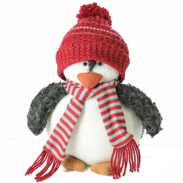 """9"""" Plush Christmas Penguin in Striped Scarf and Red Knit Beanie Hat - black"""