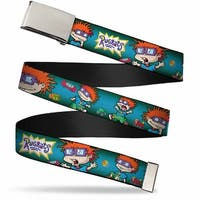 Blank Chrome  Buckle Rugrats Chuckie Poses Webbing Web Belt - S