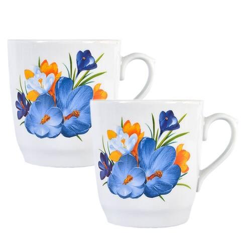 STP Goods 12-Ounce Crocus Flower Porcelain Mug (Set of 2)