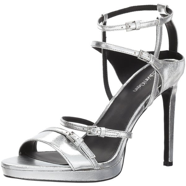 092c5fc07ed Calvin Klein Womens Shantell Leather Open Toe Casual Ankle Strap Sandals