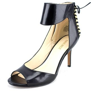 Nine West Instruct Women Open-Toe Leather Black Heels