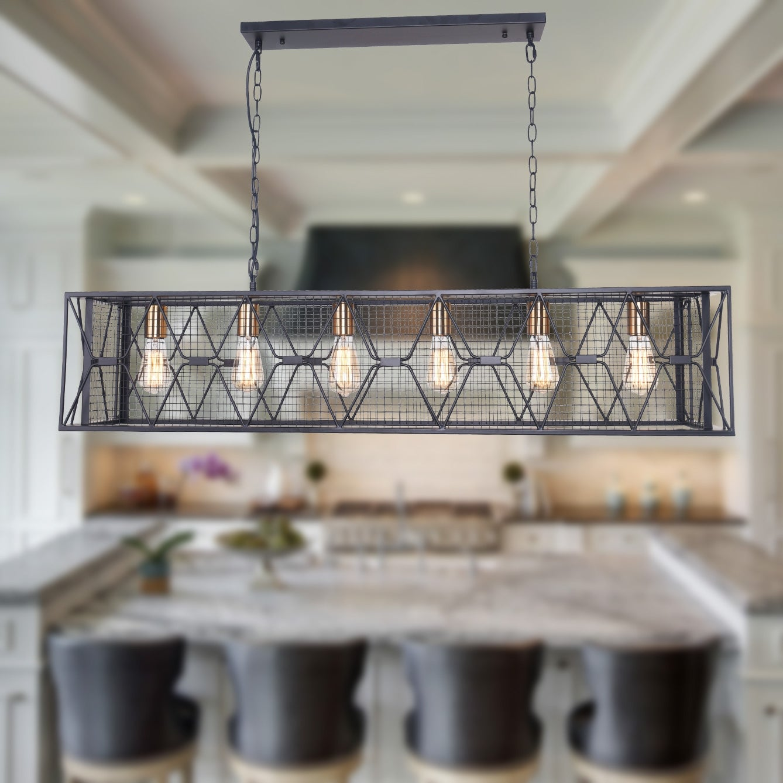 Carbon Loft Scheman Industrial 6 Light Linear Kitchen Island Pendant On Sale Overstock 30272294