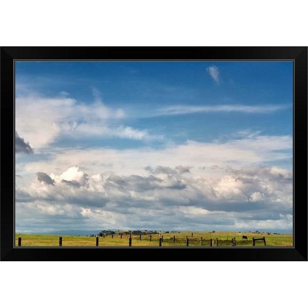 """Big blue sky with cumulus clouds"" Black Framed Print"