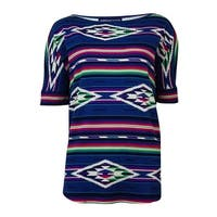 American Living Women's Tribal Print Waffle Knit Top - Multi