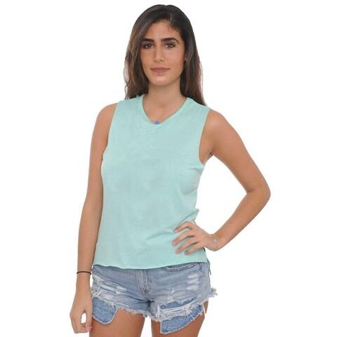 Women's Sleeveless Shirt Raw Edges Soft Lightweight Comfy Gym Workout Top