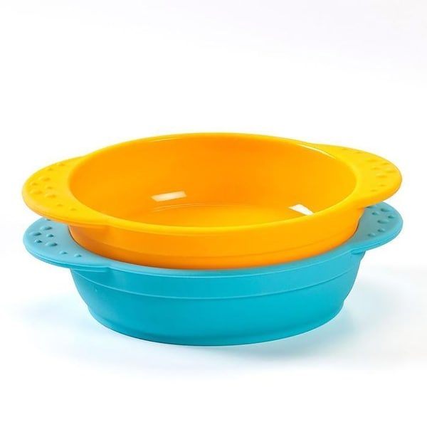 KinderVille 2-Pack Silicone Bowls For Kids And Toddlers, Orange-Blue, 6.75x1.5 Inches
