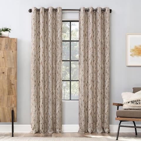 Scott Living Celina Organic Leaf Semi-Sheer Grommet Curtain Panel, Single Panel