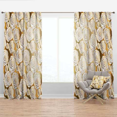 Designart 'Golden Floral III' Mid-CenturyCurtain Panel