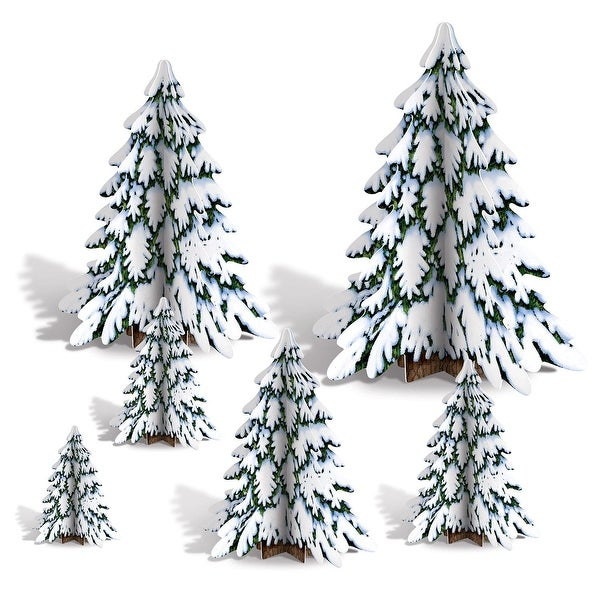 "Club Pack of 72 3-D Winter Pine Tree Centerpieces Christmas Decorations 4""-12"""