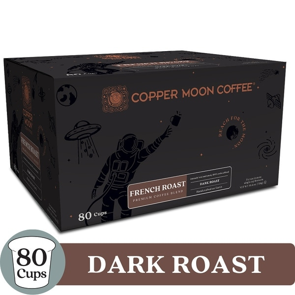 Copper Moon Coffee K-Cups, French Roast, 80 Count - Dark Roast French Roast Coffee - 80 Count
