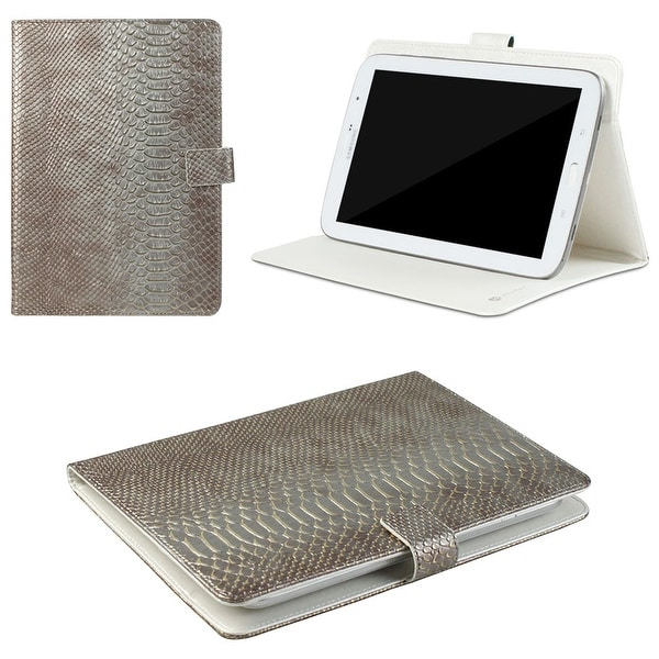 "JAVOedge Vintage Croc Scale Universal 7-8"" Book Case for the iPad Mini, Samsung Tab, Nexus 7, Nook HD (Metallic)"