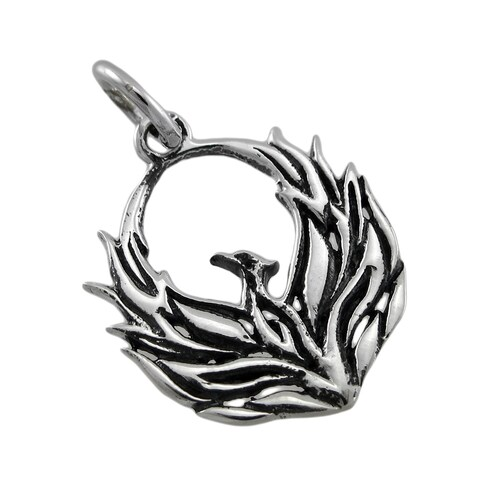 Sterling Silver Fiery Phoenix Pendant Charm Starting Over Rebirth