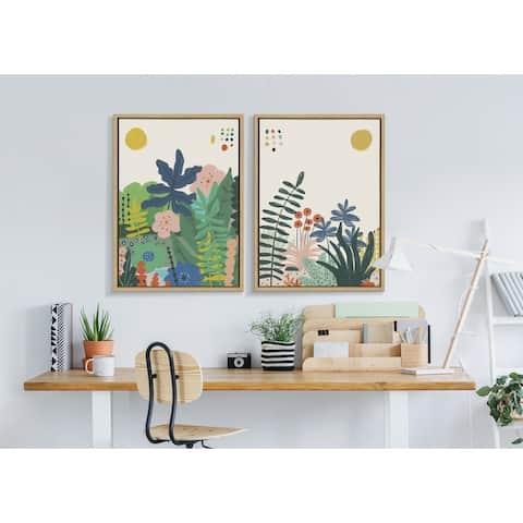 Kate and Laurel Sylvie Zen Garden 1 Framed Canvas by Kelly Knaga