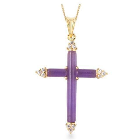925 Sterling Silver White Zircon Jade Cross Pendant Necklace 18 Inch - Size 18''