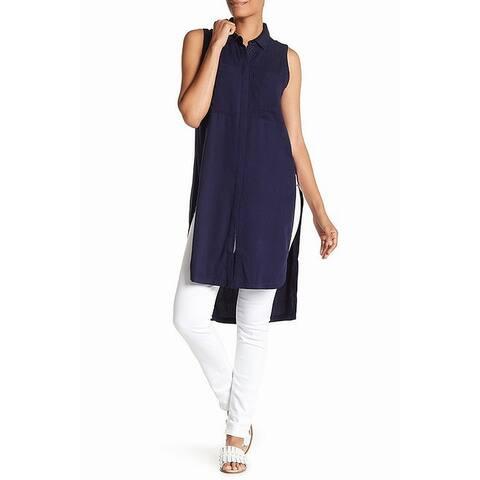 Catherine Malandrino Blue Women's Size XS Tunic Slit Tank Cami Top