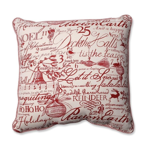"""16.5"""" Holiday Song Square Decorative Throw Pillow - WHITE"""