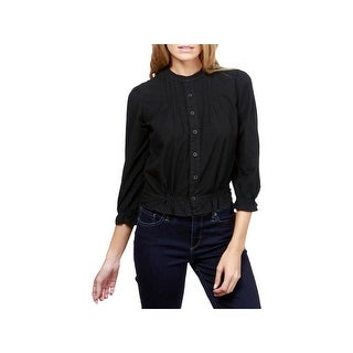 Lucky Brand Womens Button-Down Top Woven Pleated