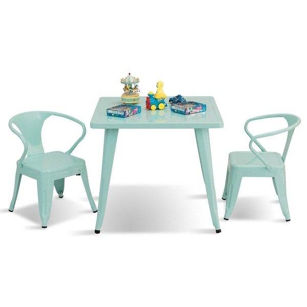 Gymax 3 Pcs Kids Dining Set Square Table & 2 Armchairs Play Learn. Opens flyout.