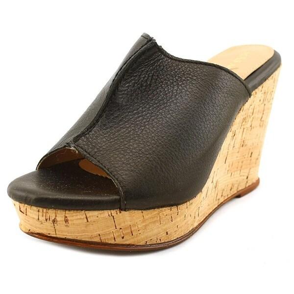 Mas Artisan Victoria Women Open Toe Leather Black Wedge Sandal