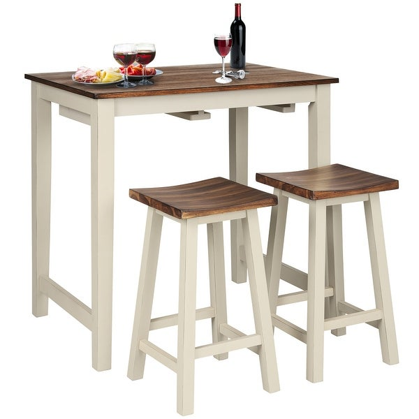Gymax 3-Piece Bar Table Set Counter Pub Table& 2 Saddle Bar Stools w/. Opens flyout.