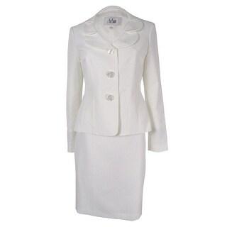 Le Suit Women's Petal-Collar Three-Button Skirt Suit