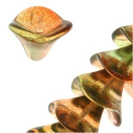 Czech Glass Beads Three Petal Flower 12mm Two Tone Cranberry/Lime (12)