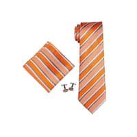 Men's Orange & Grey Stripes 100% Silk Neck Tie Set Cufflinks & Hanky 1814N - regular