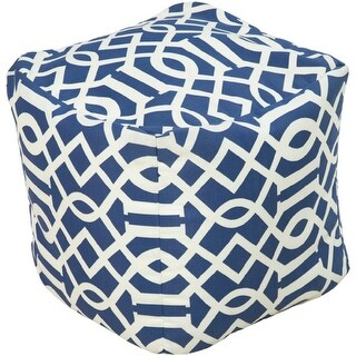 """18"""" Cobalt Blue and Ivory Square Chic Outdoor Patio Pouf Ottoman"""