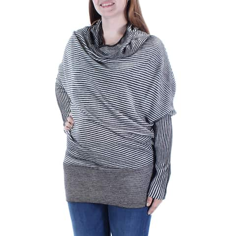 KIIND OF Womens Black Textured Striped Long Sleeve Cowl Neck Top Size: L