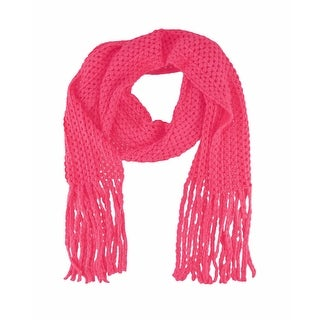 Super Soft Neon Pink Knit Scarf with Fringe